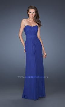 Picture of: Long Strapless Dress with an Intricately Pleated Bodice in Blue, Style: 19155, Main Picture