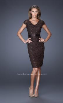 Picture of: Short Lace Dress with Satin Belt and Sequin Underlay in Brown, Style: 19167, Main Picture