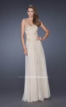 Picture of: Long Strapless A-line Dress with Lace Bodice in Nude, Style: 19175, Main Picture