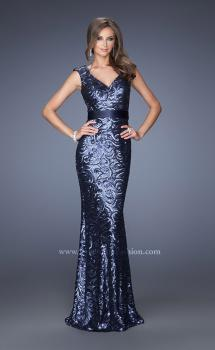 Picture of: Fitted Sequin Prom Dress with Satin Belt , Style: 19177, Main Picture