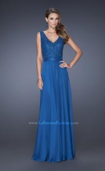 Picture of: Long Chiffon Prom Dress with an Embellished Lace Bodice in Blue, Style: 19179, Main Picture