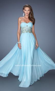 Picture of: Long Strapless Chiffon Gown with Embellished Waistline in Blue, Style: 19233, Main Picture