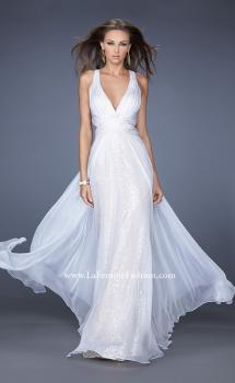 Picture of: Long Chiffon Prom Dress with Sequin Underlay in White, Style: 19255, Main Picture