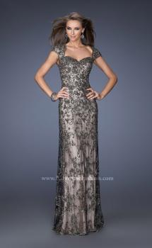 Picture of: Long Beaded Prom Gown with Nude Underlay and Cap Sleeves in Black, Style: 19274, Main Picture