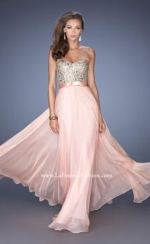 Picture of: Long Strapless Chiffon Prom Dress with Satin Bow Belt, Style: 19282, Main Picture