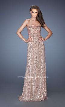 Picture of: Long Strapless Sequin Prom Gown with Open Back in Gold, Style: 19298, Main Picture