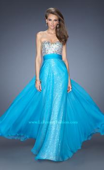 Picture of: Long Strapless Sequin Prom Dress with Chiffon Overlay in Blue, Style: 19300, Main Picture