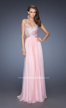 Picture of: Strapless Long Chiffon Prom Dress with Bejeweled Bodice in Pink, Style: 19321, Main Picture
