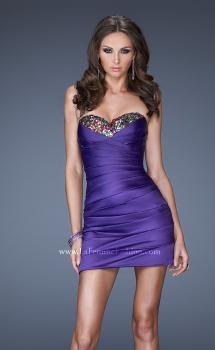Picture of: Strapless Short Prom Dress with Asymmetrical Ruching in Purple, Style: 19334, Main Picture