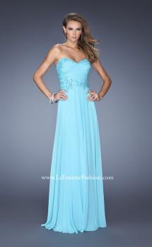 Picture of: Long Strapless Chiffon Prom Gown with Beaded Details, Style: 19342, Main Picture