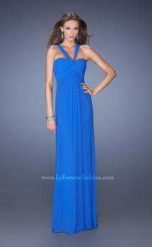 Picture of: Long Jersey Prom Dress with Halter Straps in Blue, Style: 19348, Main Picture