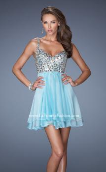 Picture of: Short Chiffon Prom Dress with Embellished Bodice in Blue, Style: 19358, Main Picture