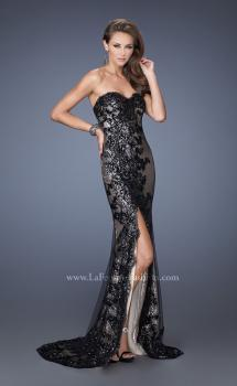 Picture of: Long Strapless Sequin Prom Dress with Lace Overlay in Black, Style: 19364, Main Picture