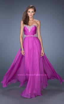 Picture of: Long Chiffon Prom Dress with Embroidered Bodice, Style: 19372, Main Picture