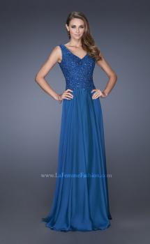 Picture of: Long Chiffon Prom Dress With Embellished Fitted Bodice in Blue, Style: 19385, Main Picture