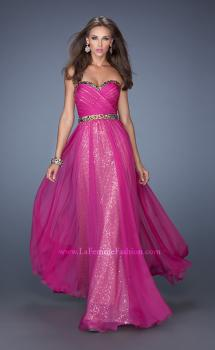 Picture of: Long Strapless Sequin Prom Dress with Chiffon Overlay, Style: 19388, Main Picture