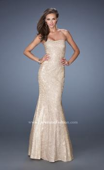 Picture of: Strapless Fitted Mermaid Prom Dress with Sequin Underlay in Nude, Style: 19396, Main Picture