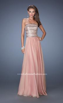 Picture of: Strapless Long Chiffon Prom Gown with Bedazzled Bodice, Style: 19398, Main Picture