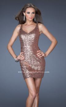 Picture of: Short Sequin Prom Dress and an Open Back in Gold, Style: 19423, Main Picture