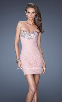 Picture of: Strapless Short Ruched Fitted Dress with Sequin Bust in Pink, Style: 19424, Main Picture