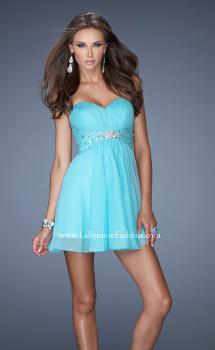 Picture of: Strapless Chiffon Short Prom Dress with Embellished Belt, Style: 19433, Main Picture