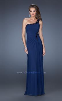 Picture of: One Shoulder Long Prom Dress with Beaded Accents in Blue, Style: 19435, Main Picture