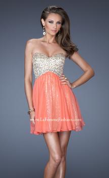Picture of: Strapless Short Sequin Dress with Chiffon Skirt Overlay in Orange, Style: 19452, Main Picture