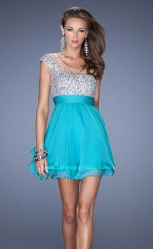 Picture of: One Shoulder Short Prom Dress with Metallic Beaded Bodice, Style: 19456, Main Picture