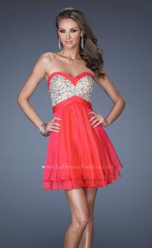 Picture of: Short Strapless Chiffon Prom Dress with Sequin Bodice in Pink, Style: 19458, Main Picture