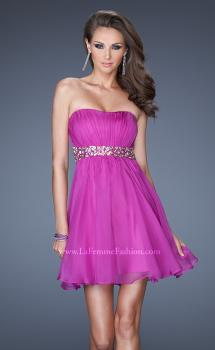 Picture of: Strapless Short Dress with a Ruched Bodice and Beaded Belt in Purple, Style: 19460, Main Picture