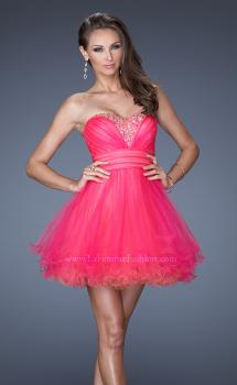 Picture of: Strapless Short Prom Dress with Two Toned Tulle in Pink, Style: 19461, Main Picture