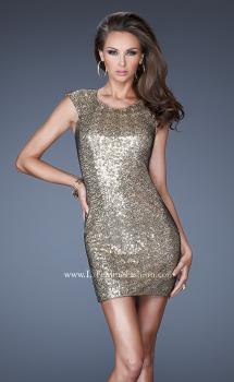 Picture of: Short Sequin Fitted Prom Dress with Cap Sleeves in Gold, Style: 19464, Main Picture