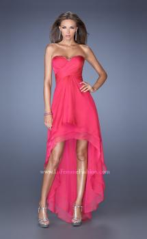 Picture of: Strapless High Low Prom Dress with Tiered Skirt in Pink, Style: 19471, Main Picture