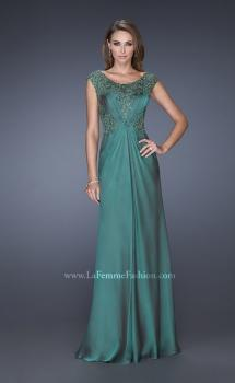 Picture of: Long Prom Dress with Sequin Bodice and Cap Sleeves, Style: 19489, Main Picture