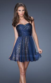 Picture of: Strapless Short Sequin Prom Dress with Chiffon Overlay in Blue, Style: 19510, Main Picture