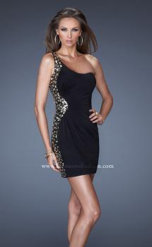 Picture of: Short One Shoulder Dress with Sequin Side Panel in Black, Style: 19521, Main Picture