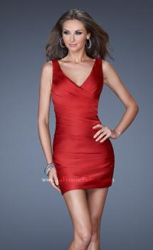 Picture of: Short Dress with Wrapped Body Pleated Detail in Red, Style: 19546, Main Picture