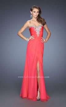 Picture of: Fitted Chiffon Prom Gown with Beaded Details on Bodice in Orange, Style: 19559, Main Picture