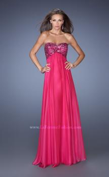 Picture of: Strapless Chiffon Prom Dress with Sequined Lace Bodice in Pink, Style: 19565, Main Picture