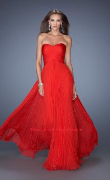 Picture of: Strapless Long Chiffon Prom Gown with Crinkle Pleating, Style: 19573, Main Picture