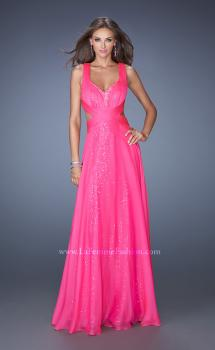 Picture of: Long A-line Chiffon Prom Dress with Sequin Underlay, Style: 19584, Main Picture