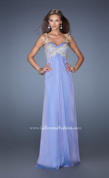 Picture of: Long Chiffon Prom Gown with Beaded Lace Details in Blue, Style: 19585, Main Picture