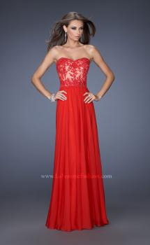 Picture of: Strapless Long Fitted Chiffon Gown with Lace Overlay Bodice, Style: 19605, Main Picture