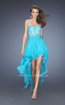 Picture of: Strapless High Low Prom Dress with Lace Overlay Bodice, Style: 19607, Main Picture