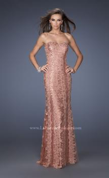 Picture of: Long Strapless Sequin Gown with Sheer Lace Overlay in Brown, Style: 19612, Main Picture