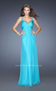 Picture of: Long Chiffon Prom Gown with Empire Waist and Ruched Bodice in Blue, Style: 19647, Main Picture