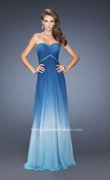 Picture of: Strapless Ombre Long Prom Dress with Beaded Details in Blue, Style: 19652, Main Picture