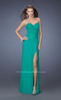 Picture of: Long Prom Dress with Ruching and Bedazzled Illusion Straps in Green, Style: 19660, Main Picture