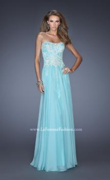 Picture of: Strapless Chiffon A-line Prom Dress with Lace Underlay in Blue, Style: 19673, Main Picture