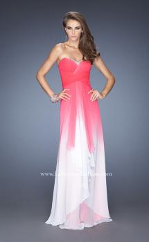 Picture of: Long Strapless Chiffon Prom Gown with Strappy Open Back in Pink, Style: 19686, Main Picture